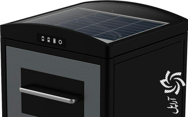 سطل زباله خورشیدی برق خورشیدی